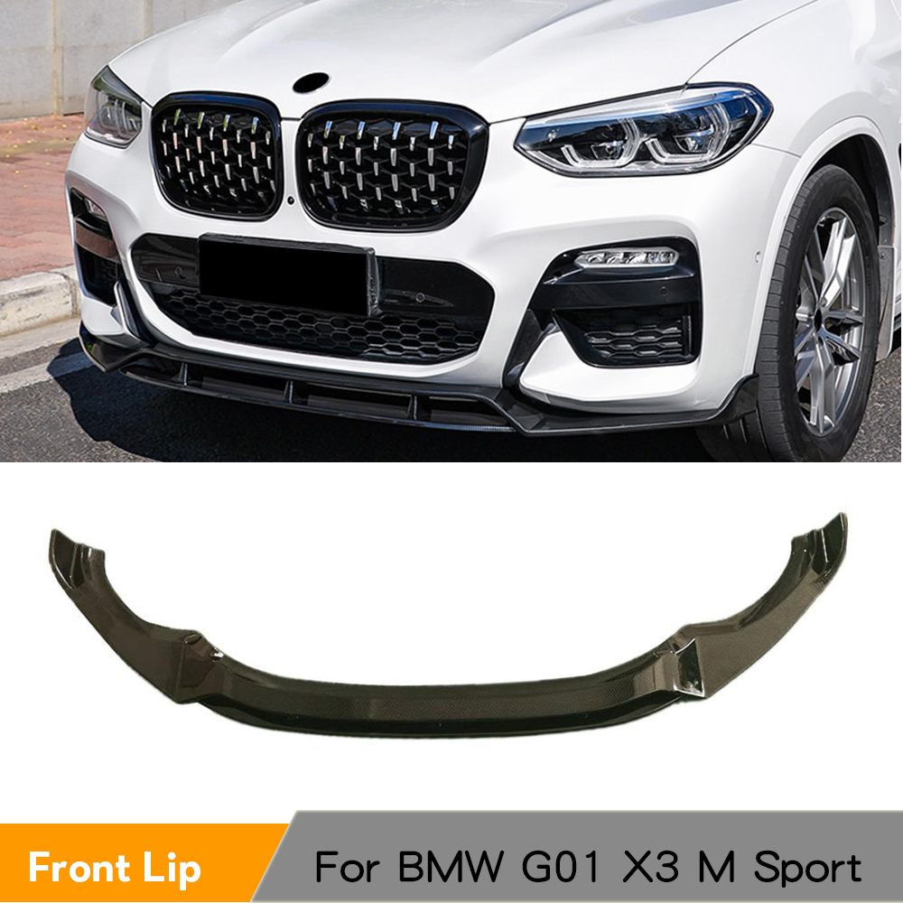 Front Bumper Splitters For <font><b>BMW</b></font> <font><b>X3</b></font> <font><b>G01</b></font> X4 G02 M Sport 2018 - 2020 Front Bumper Lip ABS Glossy Black Red <font><b>Carbon</b></font> Fiber Look image