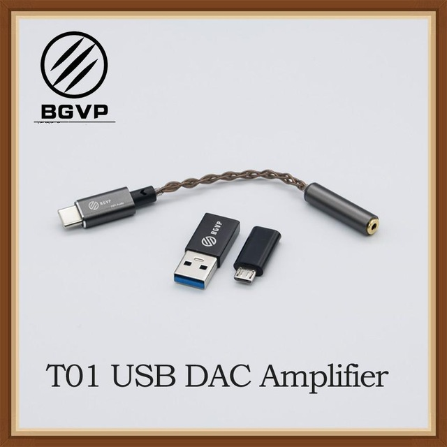 BGVP T01 USB DAC HIFI Audio Amplifier Type-c MicroUSB with Adapter Compatible with Cellphone PC Windows OS 1
