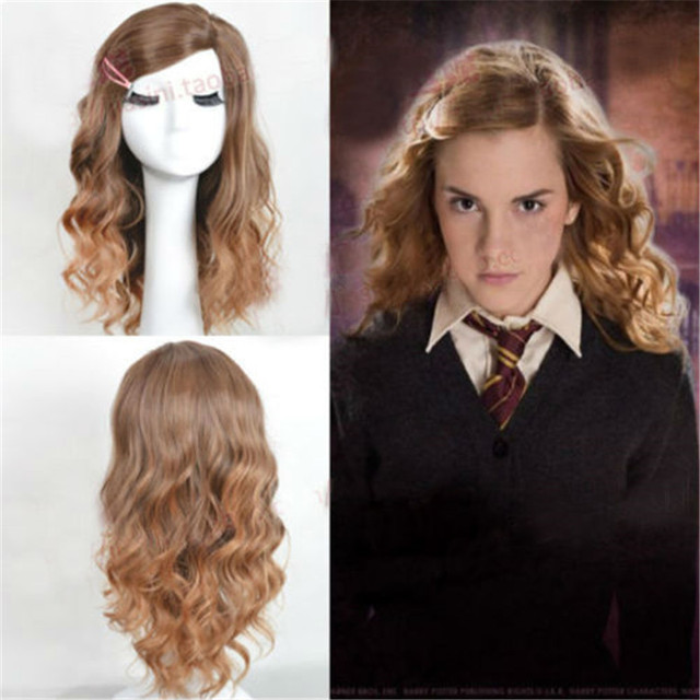 Styled Brown Curly Side Parting Heat Resistant Synthetic Hair Wigs Hermione Jean Granger Cosplay Wigs + Wig Cap