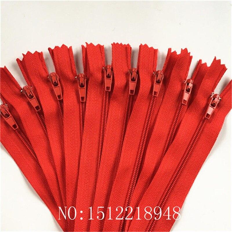 10 шт. 3 дюйма-24 дюйма(7,5 см-60 см) нейлоновые застежки-молнии для шитья на заказ нейлоновые молнии оптом 20 цветов - Цвет: red