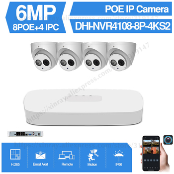 Dahua 6MP 8+4 Security CCTV Camera Kit With NVR4108-8P-4KS2 IP Camera IPC-HDBW4631C-A P2P Surveillance System Easy To Install
