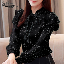 blusas mujer de moda 2019 fashion chiffon shirt bow Lady