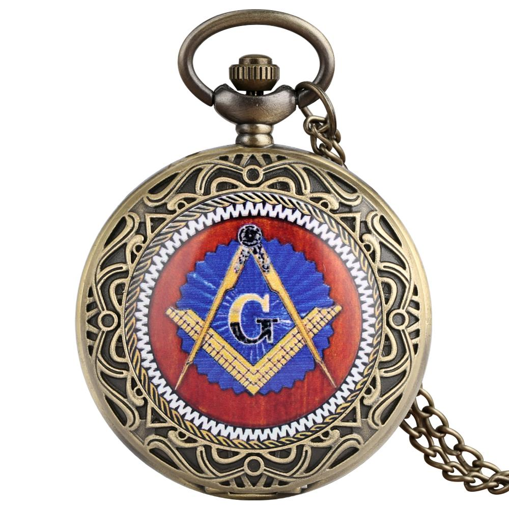 Retro Brozne Masonic Freemason Freemasonry Theme Pocket Watch Quartz Pendant Necklace Chain Relogio De Bolso