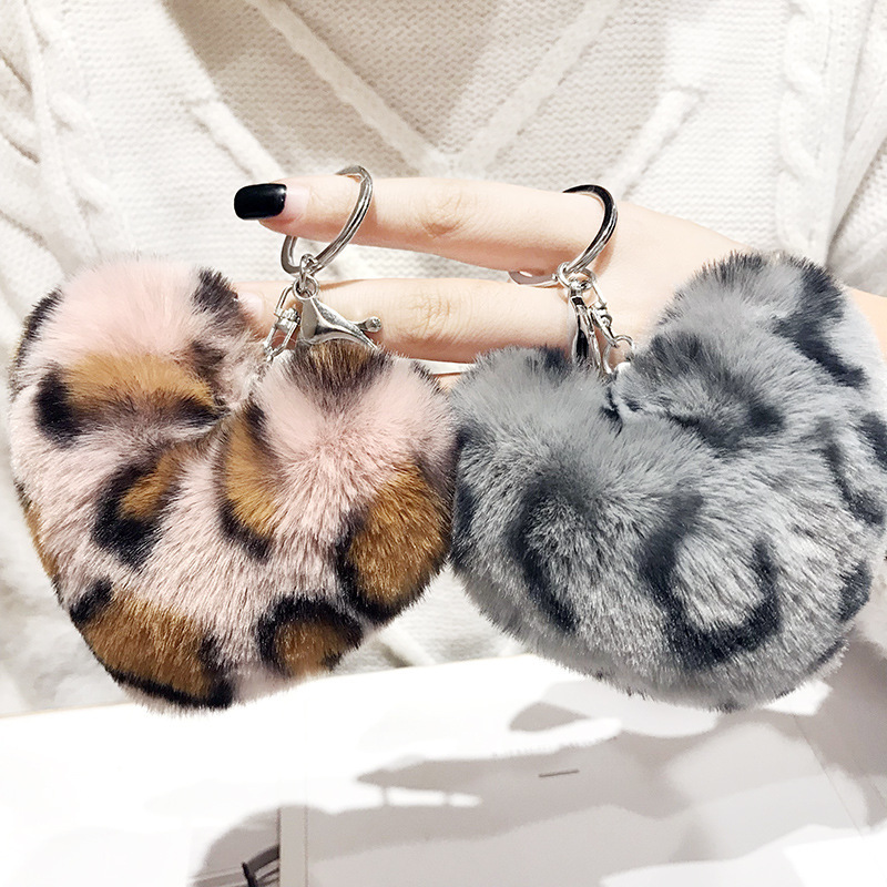 2019 Cute Bag Keychain Fake Rabbit Fur Leopard Heart Pompom Key Chains Women Girl Bag Cars Simple Fluffy Keyring Jewelry Gifts