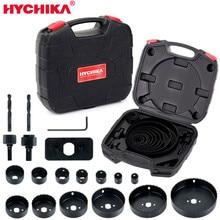 цена на HYCHIKA Hole Saw Cutting Set Kit 19 Pcs Hole Saw Kit with 13Pcs Saw Blades 2 Drill Bits for Soft Wood Plywood Drywall PVC
