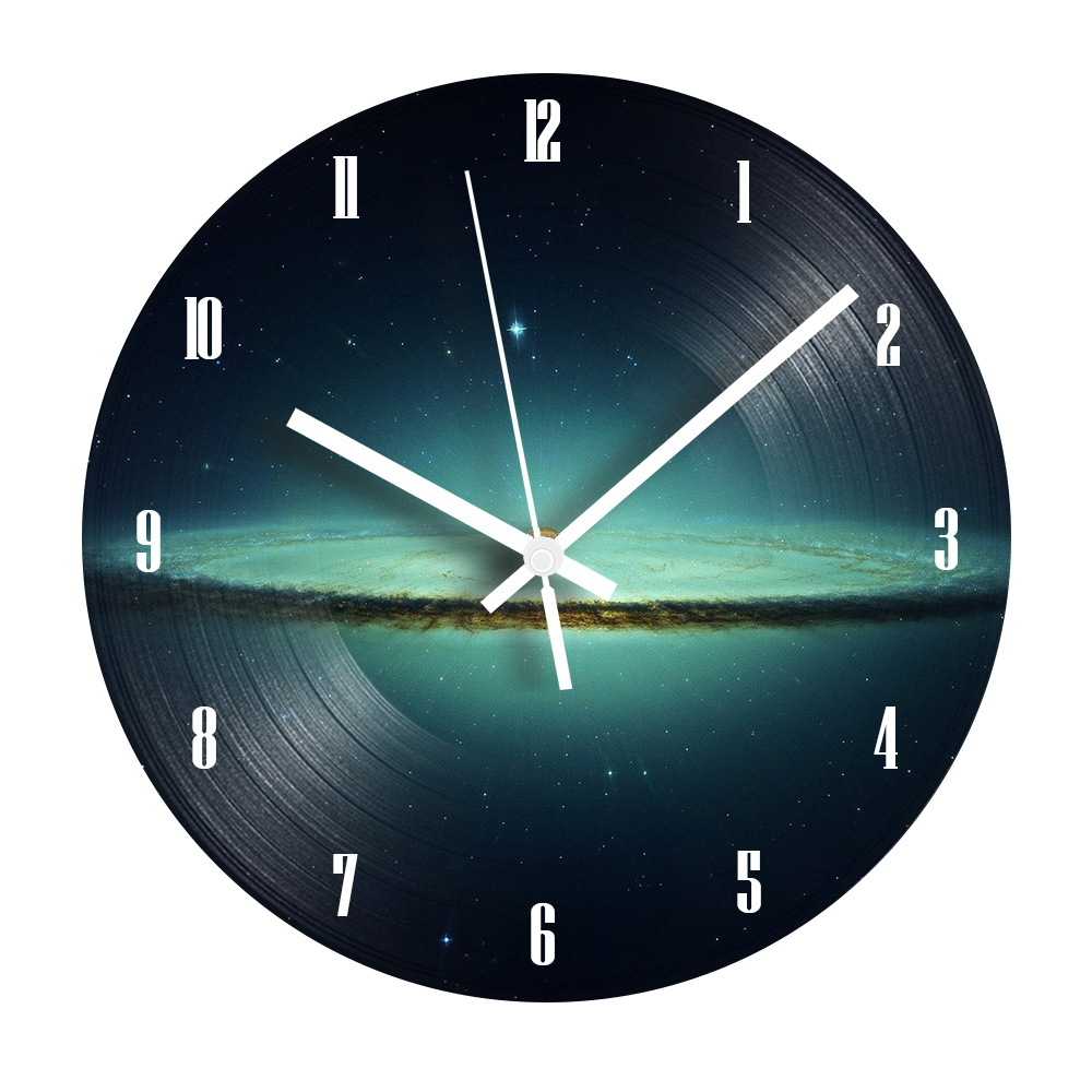 Universe Starry Digital Record Wall Clock Silent Decorative Vintage Vinyl Record Clock Watch For Kids Room Decor