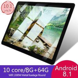 KT107 Ronde Gat Tablet 10.1 Inch Hd Groot Scherm Android 8.10 Versie Mode Draagbare Tablet 8G + 64G zwart Tablet