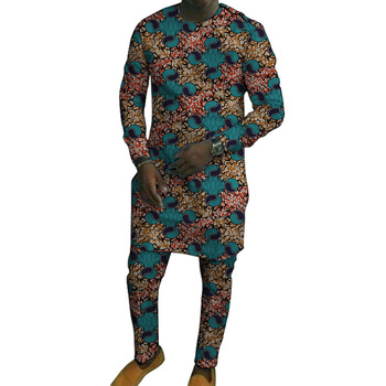 African print long shirts with trousers custom made pant sets Fashion male groom suits Dashiki outfits party clothes