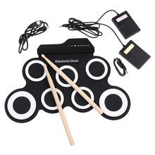Drum-Pad-Set Drumsticks-Foot-Pedal Roll-Up Electronic Digital with Headphone-Jack USB