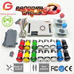 Juego de Arcade DIY de 2 jugadores juego de Pandora 3D 2448 en 1 tablero de juegos + joystick de 8 vías estilo americano HAPP pulsador para máquina Arcade