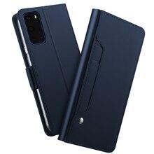 Per Samsung Galaxy S20 Ultra Caso di Vibrazione del Cuoio Del Basamento Del Raccoglitore Della Copertura Dello Specchio Guscio Antiurto per Samsung S20 Più Cassa di Carta di lusso