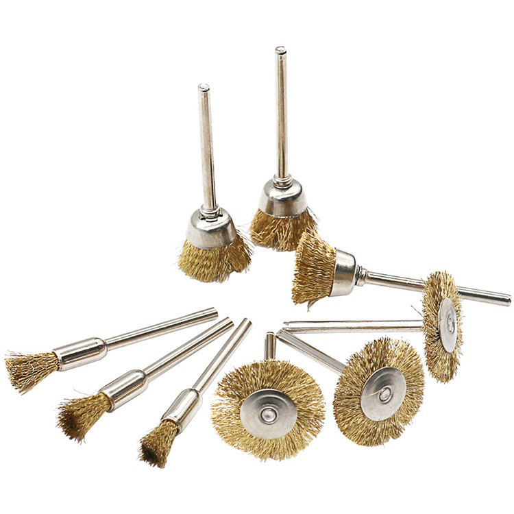 9pcs Steel Wire Wheel Brushes Buffing Drill Rotary Tools Grinder Welding Polishing Cups Drill Bit For Metal Rust Removal Brush