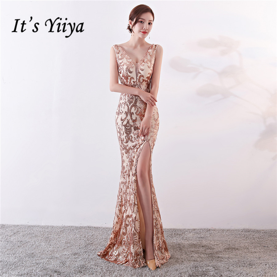 Sequin Formal Dress DX307 It's Yiiya Sexy Split Mermaid Special Occasion Dresseses Floor-Length V-Neck Sleeveless Robe De Soiree
