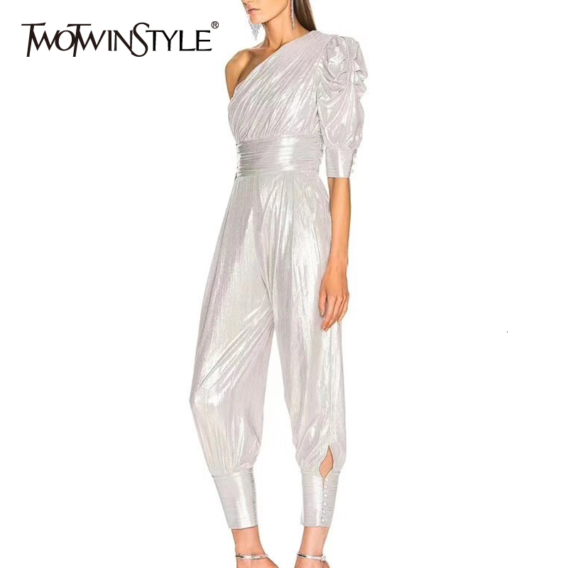 TWOTWINSTYLE Casual Ruched Jumpsuits Female Irregular Collar Half Sleeve Asymmetrical Women's Jumpsuit Fashion Clothes 2020 Tide