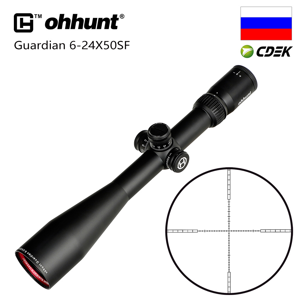 Hunting Ohhunt Guardian 6-24X50 SF Rifle Scope 1/2 Half Mil Dot Reticle Side Parallax Turrets Lock Reset Tactical Riflescopes