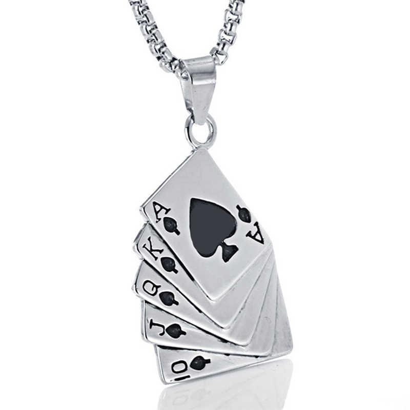 À la mode hommes pendentif collier Punk lien chaîne collier accessoires mâle créatif cartes à jouer longs colliers Bijoux Homme cadeau