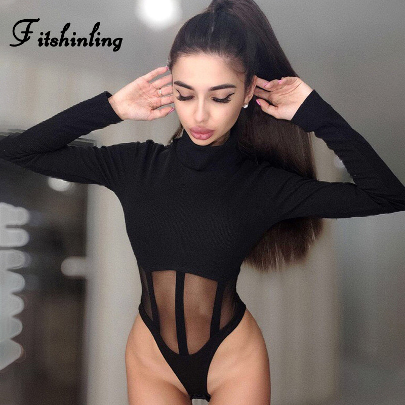 Fitshinling Mesh Patchwork Bodysuit Women Turtleneck Long Sleeve Spring Body Mujer Jumpsuit Fitness Casual Hollow Out Bodysuits