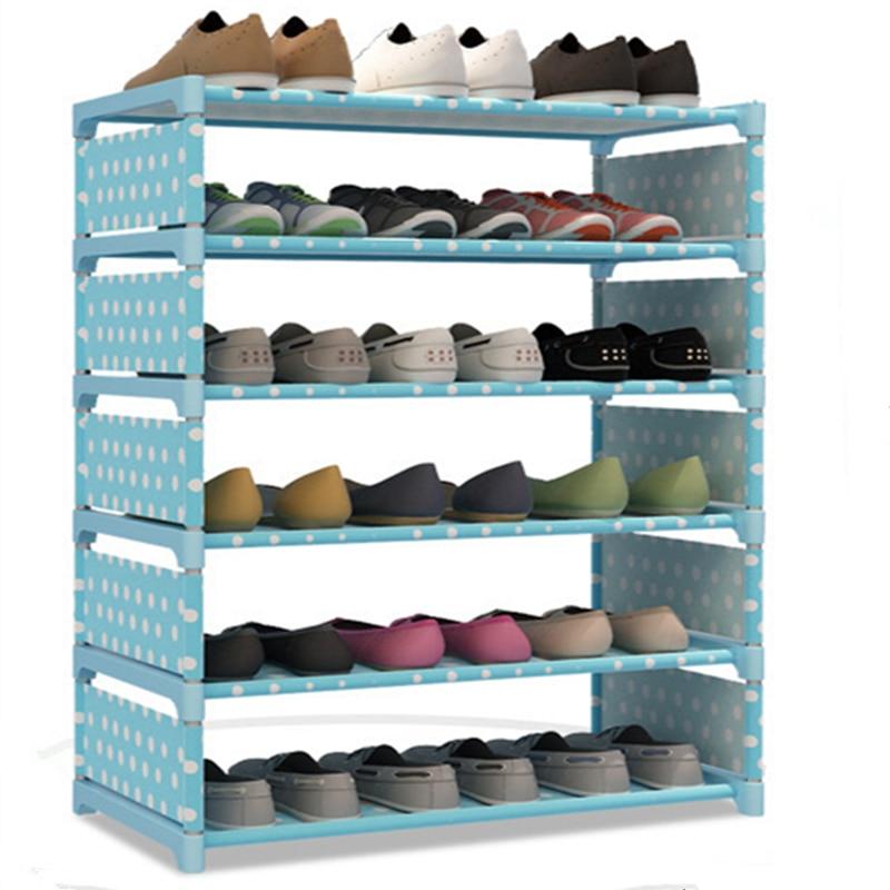 Double Rows Multi Layer Simple Shoe Rack Detachable Nonwoven Fabric Dustproof Storage Boots Closet Hallway Shoes Organizer Shelf