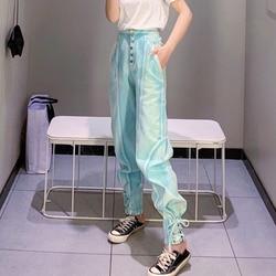 Женские лоскутные брюки DEAT, повседневный однотонный светильник с бантом, свободные тонкие брюки с высокой талией, SD580, лето 2020