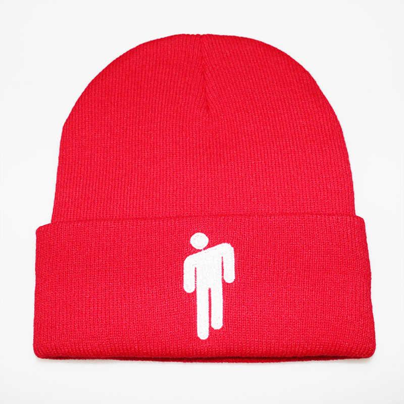 قبعات شتوية من Billie Eilish Beanies للسيدات قبعة محبوكة بتطريز الرجل الصغير قبعات خريفي للسيدات قبعة هيب هوب قبعات صغيرة Emb