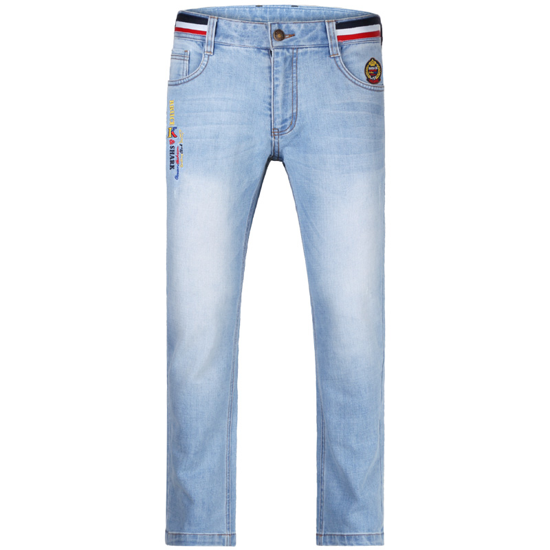 Stretch Lose Male Jeans Embroidery Design Straight Trousers MAN Jeans Casual Fashion Denim Jeans Thicken Soften Cotton Big Size