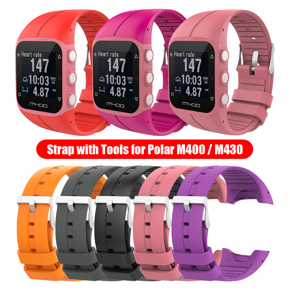 Fashion Soft Silicone Watch Band Classic Colorful Sport Wristband Bracelet Strap With Buckle For Polar M400 M430 GPS Smart Watch