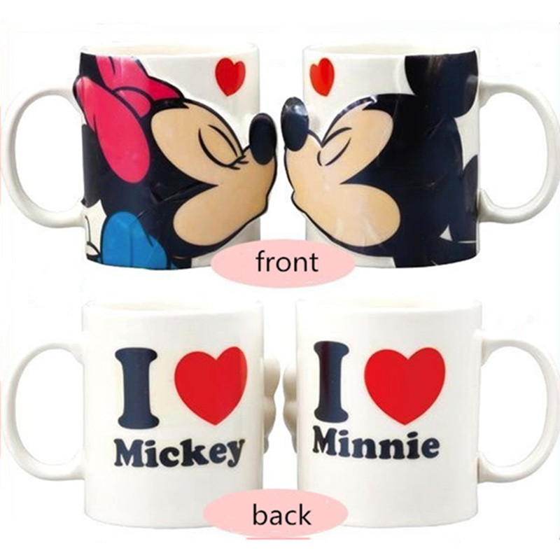 300ML 3D Disney Mickey Minnie Cartoon Ceramic Water Cup Love Couple Water Mug Family Office Coffee Milk Mug Festival Gifts