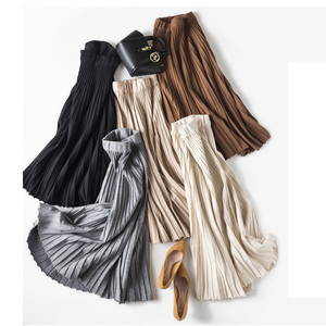 Image 3 - Setwigg女性の秋ドレープリブプリーツロングニットスカートエレガントな冬のウールブレンドaラインロングニットスカート弾性ウエスト