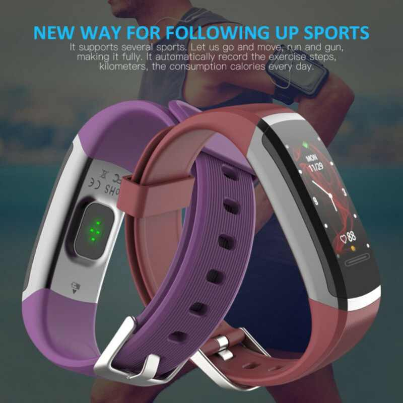 Kencool GT101 Smart Watch Pria Gelang Real-Time Monitor Denyut Jantung dan Tidur Pasangan Terbaik Kebugaran Tracker Pink Fit wanita
