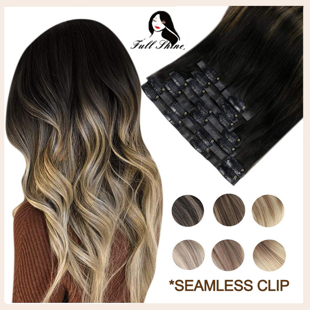 Полный блеск Бесшовные Клип на человеческих волос расширение 8Pcs100g ПУ Клип Омбре блонд цвет кожи утка 100% машина Remy человеческие волосы для ж...