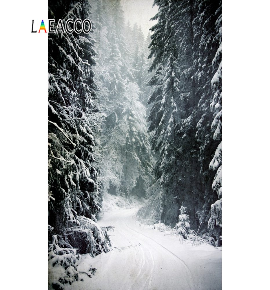 Laeacco Winter Backdrops Heavy Snow Pine Passage Child Portrait Natural Scenic Photographic Backgrounds Photocall Photo Studio snow