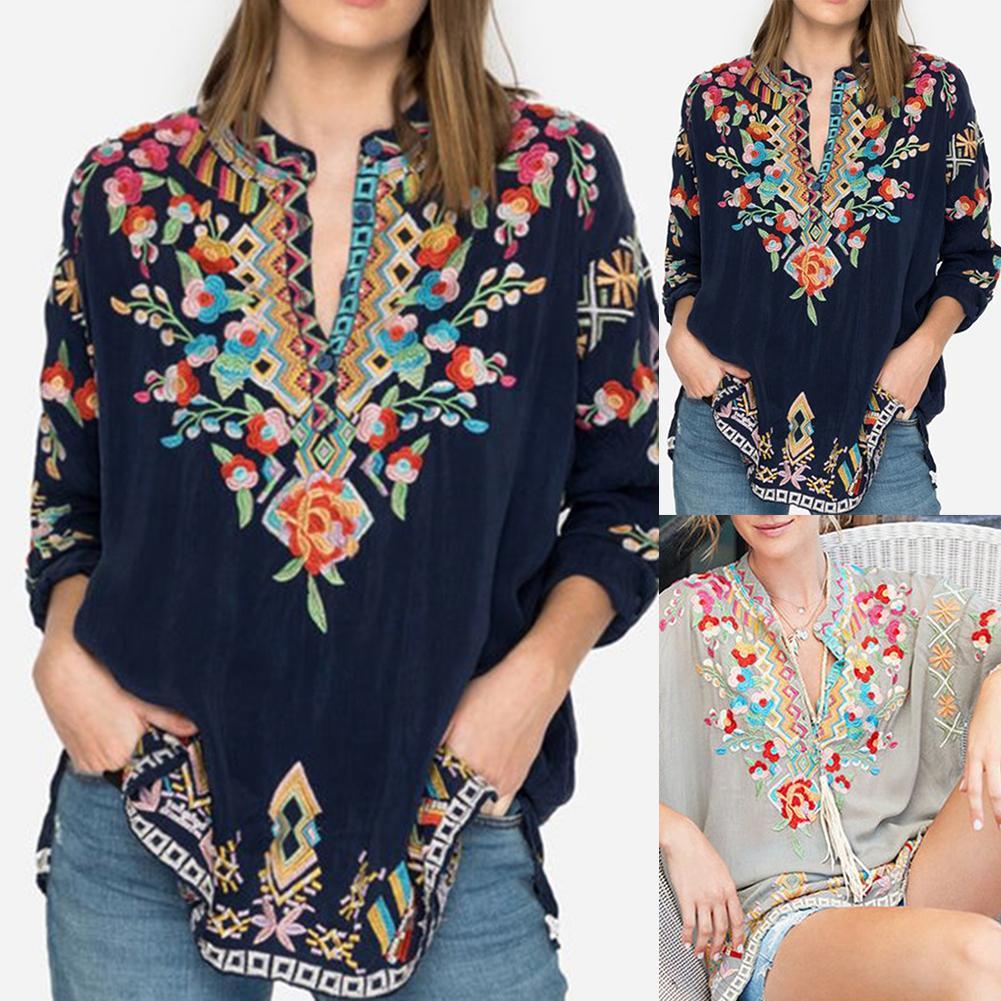 Fashion Women Boho V Neck Long Sleeve Floral Embroidery Button Plus Size Shirt Top Female Clothes Plus Size