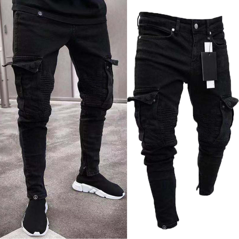 New Fashion Brand Men's Skinny Denim Destroyed Frayed Pencil Pants Vogue Male Pockets Slim Fit Cargo Pants Joggers Trousers