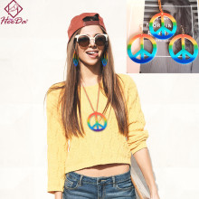 2019 Women Hiphop Rock Peace Sign Necklace Earrings Set Kpop Vintage Print Wood Geometric Jewelry Carnival Unique Decoration(China)