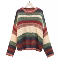 Women's sweater Autumn And Winter Female striped Long sleeve Pullovers knit O Neck womens sweaters oversized sweater Plus Size