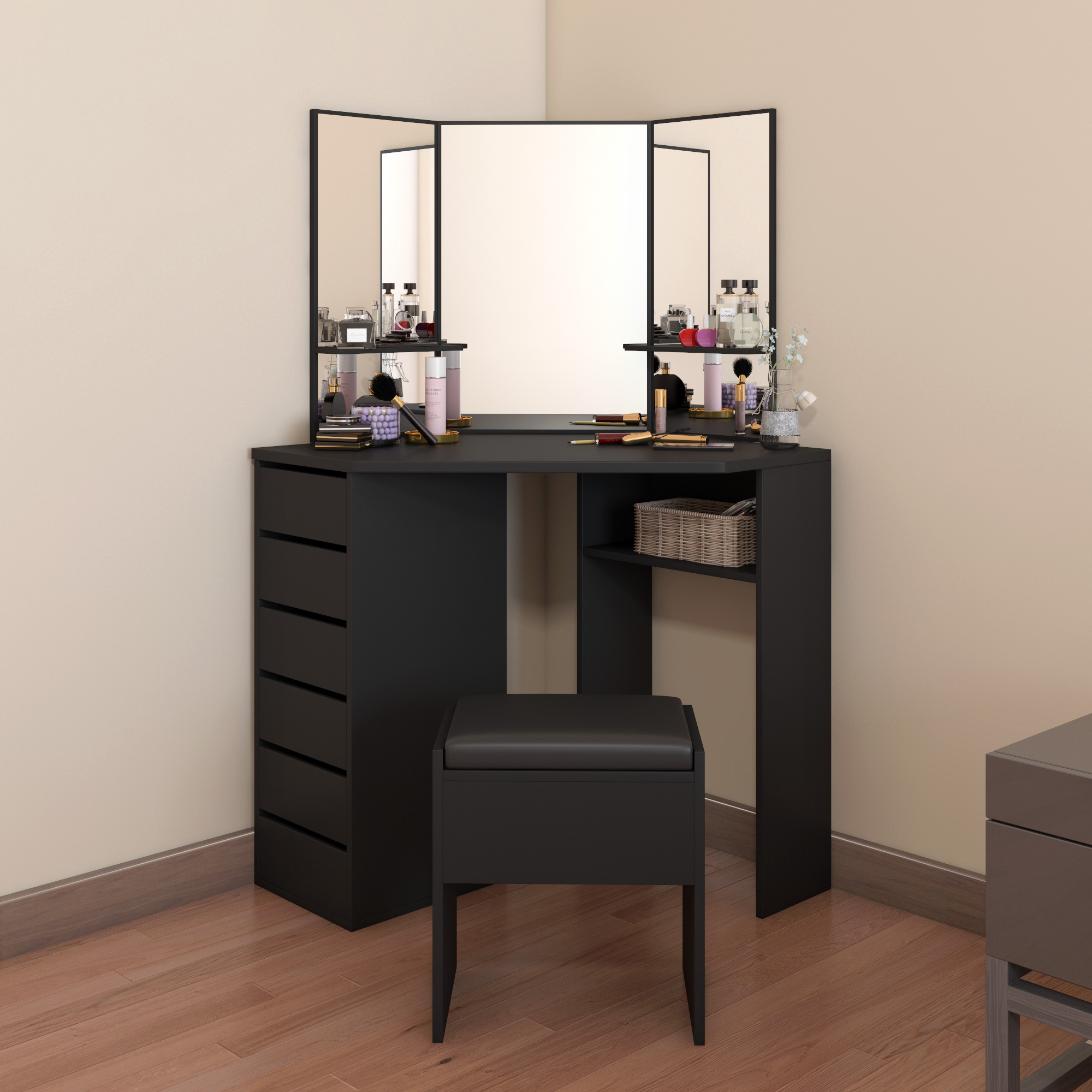 Pananan Modern Corner Dressing Table Makeup Curved Mirror With Stool Shape Home Working Wtudy Desk