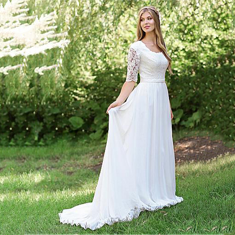 Half Sleeves Wedding Dress Floor Length Lace Bride Dress White Ivory Beach Cheap Robe De Mariee 2019 Elegant Wedding Gowns