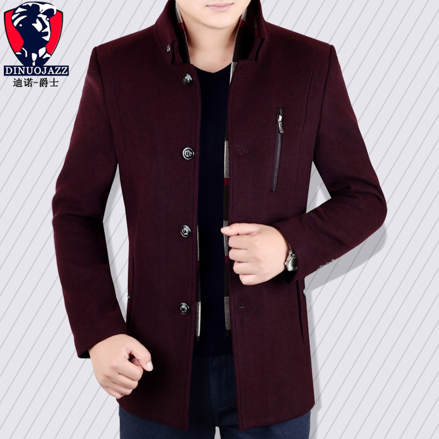 Men's Wear Wool Overcoat Standing Collar Single-breasted Lead Long Loose Coat For Father Middle Age Dad Dress