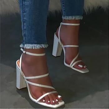 Block Heel Women Shoes Zapatos De Mujer Sandalias Tacon Sandals High Heels White Pink Beige