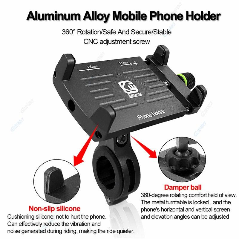 Image 3 - Universal 360 Degree Bike Phone Holder Motorcycle Aluminium  Adjustable Phone Holder For ATV Support Stand For 4 7 inch PhonePhone  Holders