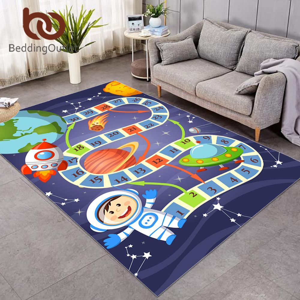 BeddingOutlet dessin animé enfants Tapis de jeu jeu de société grand Tapis pour salon dessin animé espace planète Tapis labyrinthe Puzzle drôle Tapis