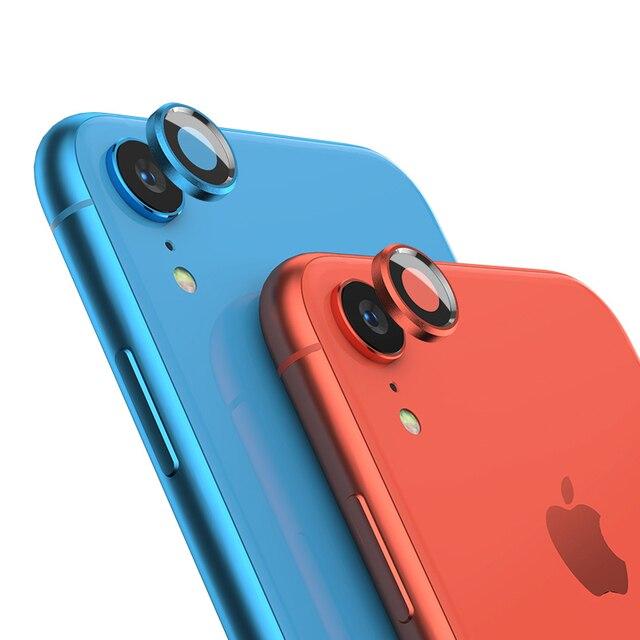 Arka kamera Lens ekran koruyucu için iPhone XR 6D temperli cam filmi + Metal arka Lens koruma halka kılıf kapak aksesuarları