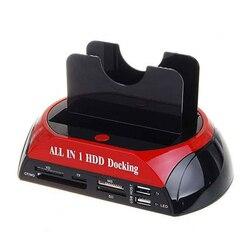 TCC-S862-DE USB 2.0A SATA IDE podwójna zatoka dysk twardy dysk twardy stacja dokująca z czytnikiem kart i Hub USB 2.0 dla 2.5 3.5 Cal IDE SAT