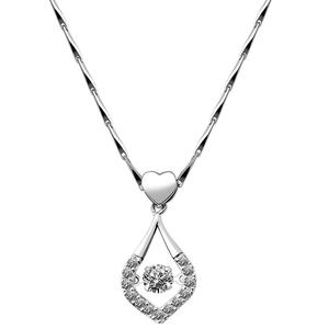 Women Heart Water Drop Pendant Cubic Zirconia Clavicle Chain Necklace Party Gift