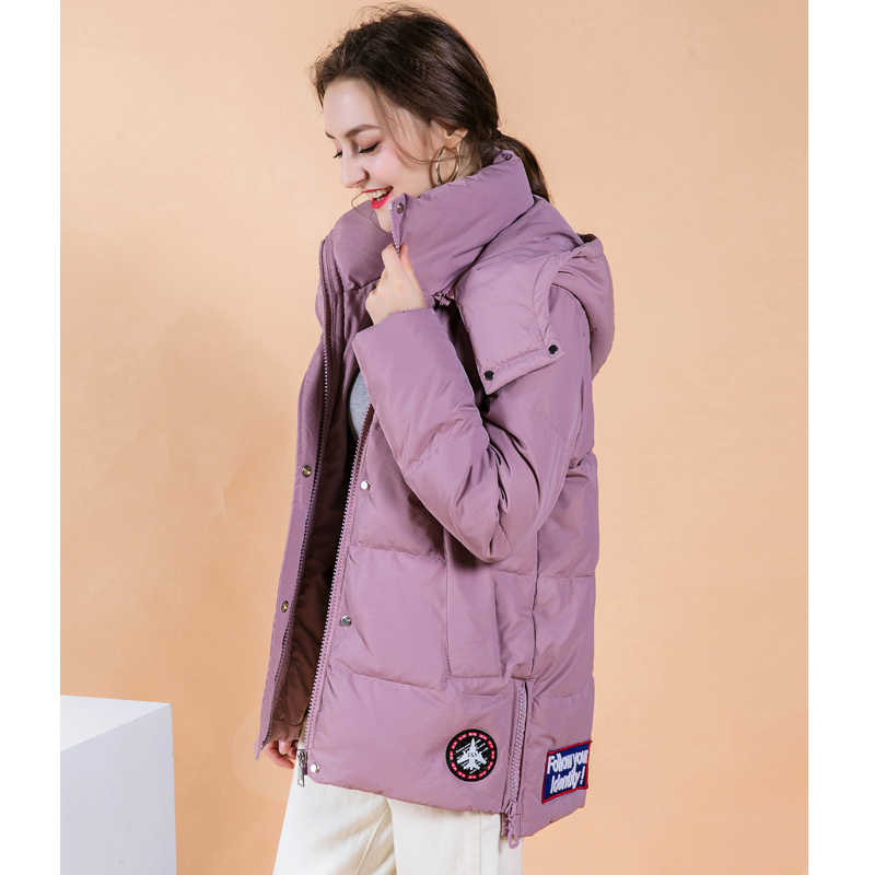 2019 Fashion Duck Down Jacket Women Winter Long Thick Double Sided Pure Color Coat Female Plus Size Slim Fitting