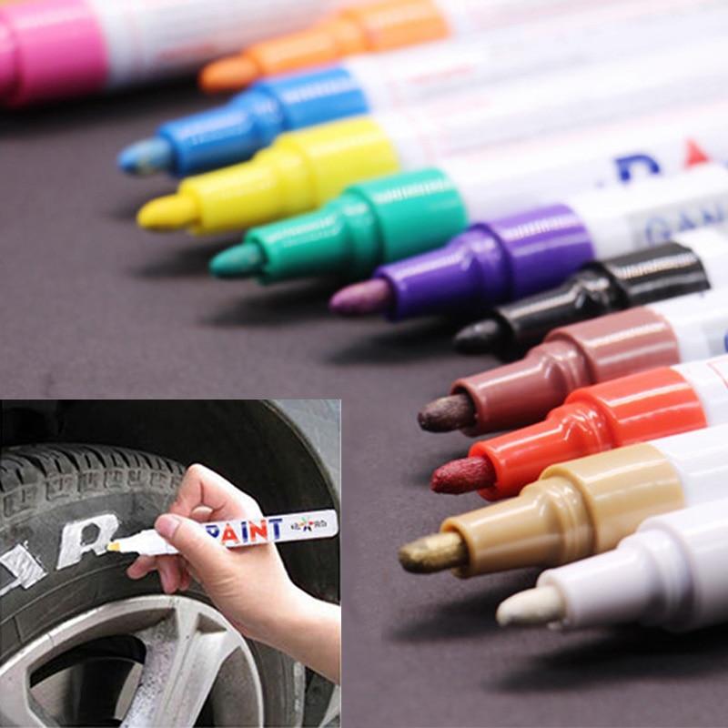 Car Tyre Tire Tread CD Paint Markers Metal Permanent Graffiti Oily Marker Pen Color Waterproof Pen Marcador Caneta Stationery