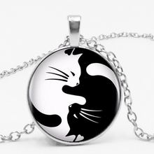 LETS SLIM Fashion Vintage Retro Two Cat Necklace Glass Pendant Yin Yang Fish Mens Private Order