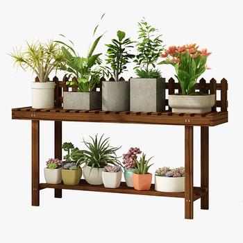 Countryside Flower Rack Zi Shi Woodiness Multi-storey Indoor Balcony Storage A Living Room To Ground Meat Rack Household
