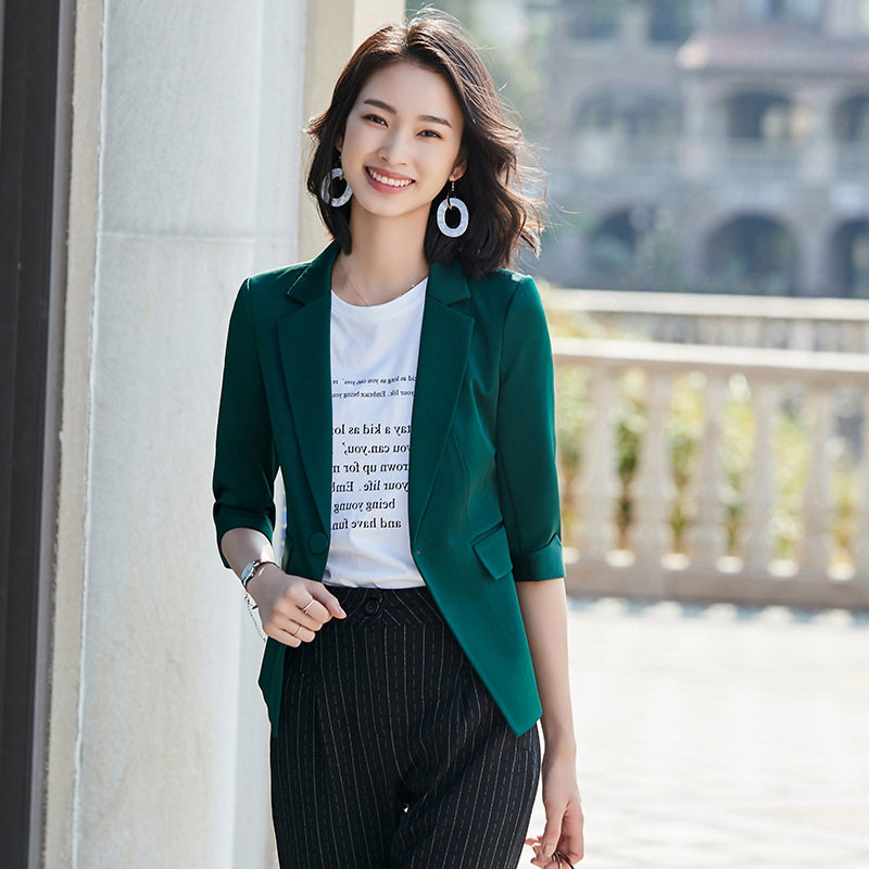 Casual women's office suit 2020 spring and autumn new solid color feminine blazer Fashion slim half-sleeve jacket Female