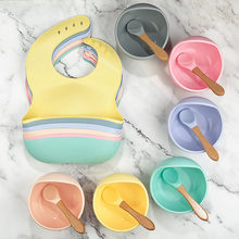 1 conjunto de silicone bib conjunto de alimentação tigela do bebê utensílios de mesa à prova dnon água colher antiderrapante bpa livre de silicone utensílios de mesa portáteis para crianças